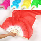 Free Ship Belly Dance Bamboo Long Silk Fans Veils Hand Made Silk Fan 7 Colors