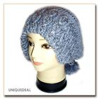 NEW STYLISH ADJUSTABLE COLLAR HAIR BAND TYPE WINTER BEANIE HAT DOUBLE USE / Grey