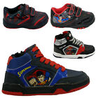 **BOYS INFANT SUPERMAN SPIDERMAN SCHOOL FASHION TRAINERS VELCRO KIDS SHOES SIZE