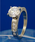 New Women Fashion Engraved Stainless Steel CZ Stones Engagement Anniversary Ring
