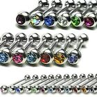 1  x 16g-6mm Sm Surgical Steel Barbell with Press Fit Gem Ear- Tragus -Cartilage