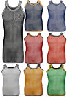 ADULTS MENS  FISHNET STRING MESH NET SLEEVELESS TANK TOP MUSCLE VEST 100%COTTON