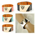 Women Genuine Leather Snap Wide Bracelet Leopard Wristband Vintage Cuff Bangle