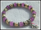 8mm PURPLE ALEXANDRITE & GLASS PEARLS BEADED STRETCH BRACELET ~ SILVER ~ GOLD +