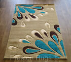 RUG RUNNER MODERN FLORAL BEIGE TEAL BLUE BROWN SMALL MEDIUM LARGE - 5 SIZES