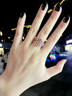 18K GP White Rose Gold Plated Element Crystal Wide Labyrinth Maze Ring USPS