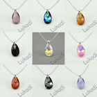 SILVER PENDANT SWAROVSKI PEAR ALMOND CRYSTAL 17 COLORS AB VIOLET RED PINK BLUE