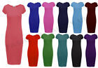 WOMENS SHORT CAP SLEEVE PLAIN BODYCON STRETCH JERSEY MIDI DRESS PLUS SIZE 8-22