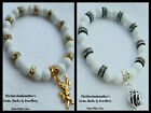 8mm WHITE GLASS BEADS STRETCH BRACELET ~ GOLD, SILVER OR BLACK SPACERS ~ CHARMS