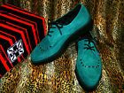 T.U.K. TUK A8239 Shoes Pointed Brothel Creeper TEAL  Suede TIE Creepers Shoe