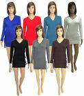 WOMENS NEW LADIES FULL SLEEVE V NECK KNITTED BELTED LONG JUMPER TOP SIZE 8-14