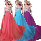 US SELLER Long Beaded A-Line Party Ball Bridesmaid Formal Evening Cocktail Dress