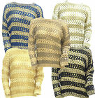 WOMENS NEW CROCHET SPARKLE KNITTED TWO TONE SOFT LUXURY JUMPER