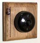 Period Single Oak Pattress with 1/2 Way Bakelite Style Dolly Light Switch