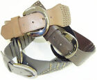 NEW LADIES WIDE STUDDED LEATHER LOOK PATCHED DESIGN BUCKLE BELT FREE SIZE
