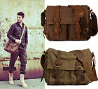 Vintage Canvas Leather Messenger Bag Satchel Cross body Military Shoulder Bag