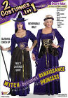 2-in-1 Witch Renaissance Princess Maiden Fancy Dress Up Halloween Adult Costume