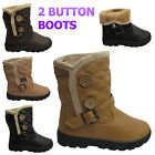 NEW WOMENS QUILTED 2 TWO BUTTON FUR LINED ANKLE LADIES WINTER SNOW BOOTS SHOES