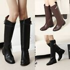 Womens Real Leather Knight Boots Belt Buckle Round Toe Knee Low-heeled boots