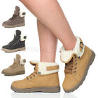 WOMENS LADIES FUR CUFF FLAT MILITARY ARMY LACE UP WINTER ANKLE SHOES BOOTS SIZE