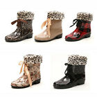 US5-9 PVC Warm Winter Lace Up Snow Rain Garden Boots ladiess flats shoes  [JG]