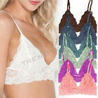Floral Lace Lined Bralette Bra Unpadded Triangle Mesh Top Hook Closure US SELLER
