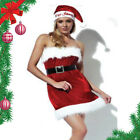 Womens RED Sexy miss Santa BABY PINUP CHRISTMAS Fancy Dress Costume fur party