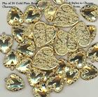 20 Gold Plated Brass Heart Charms Stampings, 3 Styles to Choose from.