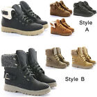 Womens Combat Fur Lined Winter Army Worker Military Ankle Boots Flat Shoes Size