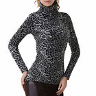 Women Leopard Turtle Neck Long Sleeve Slim Pullover Thick Tops Blouse [JG]