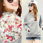 Vintage Womens Lace Batwing Floral Print Crewneck Blouse Shirt Long Sleeves