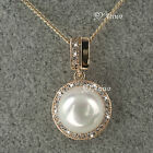 18K GOLD GF GENUINE SWAROVSKI CRYSTAL PEARL PENDANT NECKLACE