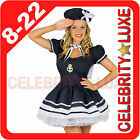 New Ladies Sailor Olive Oyl Navy Blue Uniform Fancy Dress Costume Party Popeye
