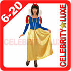 New Ladies Snow White Fairy Tale Long Fancy Dress Up Costume Cartoon Gown Skirt