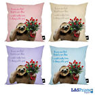 """SLOTH VALENTINES ROSES DESIGN IDEAL GIFT 18"""" X 18"""" CUSHION 4 COLOURS AVAILABLE"""