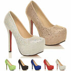 WOMENS LADIES WEDDING PARTY PROM HIGH HEEL PLATFORM COURT SHOES PUMPS SIZE