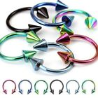 "16G 5/16'' 3/8"" Titanium Anodized HORSESHOE SPIKES circular Earring  Lip Septum"
