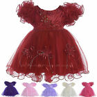GIRLS WEDDING BRIDESMAID PARTY DRESS MAROON/BURGUNDY FLOWERGIRL BABY OCCASION PS