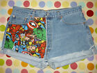 REWORKED/CUSTOMISED MARVEL VINTAGE LEVI DENIM SHORTS SIZE 8/10/12/14/16/18/20
