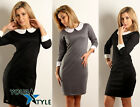Women's elegant classic shift pencil bodycon crew neck dress with collar M30