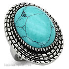 Large Turquoise 316L Stainless Steel Ring Bezel Set 18 x 24mm Cabachon Size 5-10
