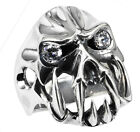 STAINLESS STEEL SKULL RING WITH STONES ON THE EYES IN SIZES 10-14 R52