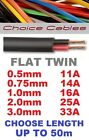 Flat Twin Auto Cable 2 Core 0.5mm, 0.75mm, 1mm, 2mm, 3mm Thinwall Upto 50m, 12v