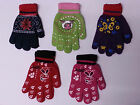 New Magic Winter Warm Gripper Thermal Knitted Gloves Girls Boys Kids Designs UK