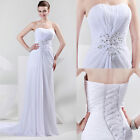 Full Length Women's Formal Ball Gowns Bridal Prom Pageant Party Wedding Dresses