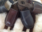 Men Leather Wool Brown Black Cozy Slippers Shoes Size7 8 9 10 11 12 13 Flip Flop