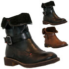 LADIES WOMENS LOW BLOCK HEEL FUR LINED ARMY COMBAT WINTER ANKLE BOOTS SHOES SIZE
