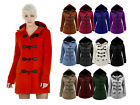 NEW LADIES FLEECE JACKET DUFFLE STYLE HOODED TOGGLE POCKET COAT TOP SIZE 8-20