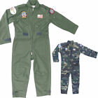 Kids Childs Airforce Army Military Aviators Flying Pilot Suit Overalls Outfit