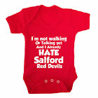 I HATE SALFORD RED DEVILS FUNNY BABY GROW - RUGBY BABY GROW SALE SHARKS LEEDS